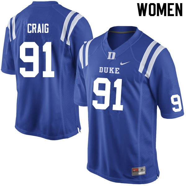 Women #91 Ahmad Craig Duke Blue Devils College Football Jerseys Sale-Blue